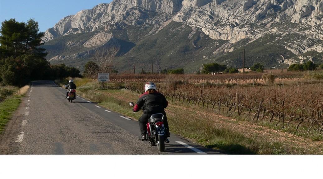 Mont St Victoire, Aix en Provence, classic motorcycle tour with Classic Bike Esprit