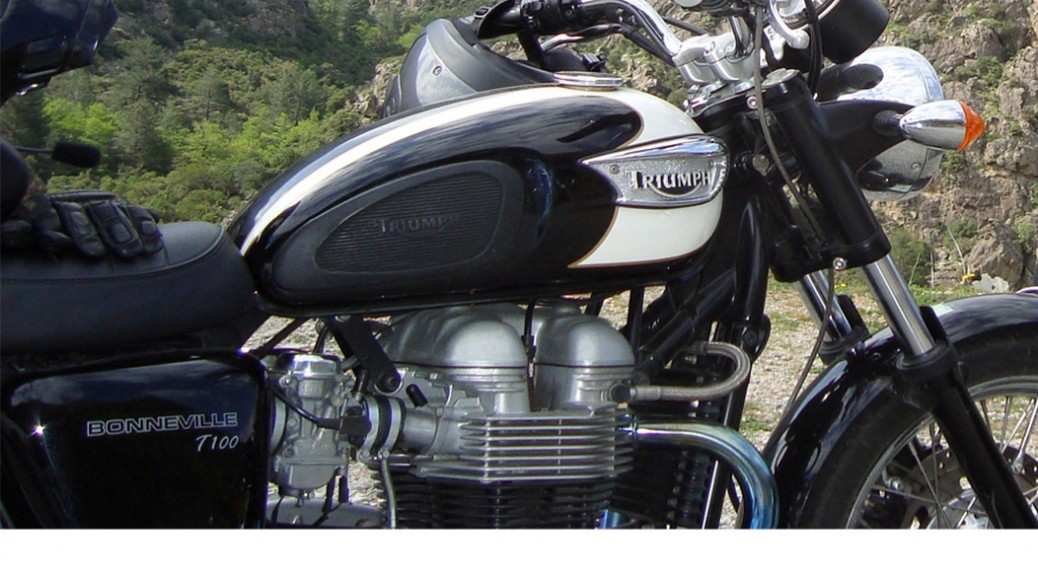 Triumph Bonneville for rental at Classic Bike Esprit , St Rémy de Provence, southern France
